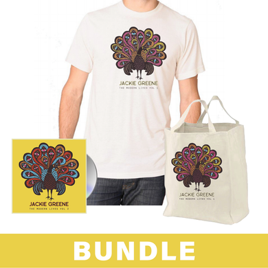 Jackie Greene the modern lives vol 2 merch bundle peacock tshirt canvas tote made in america
