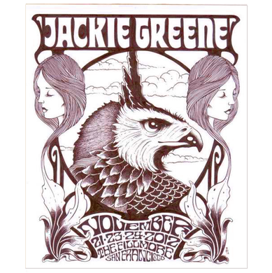 Jackie Greene 2012 fillmore poster artwork by alan forbes blue rose music