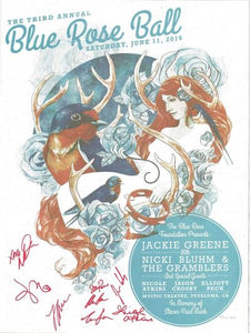 Signed Blue Rose Ball poster 2016 autographed artwork by stanley mouse blue rose foundation benefit large numbered poster