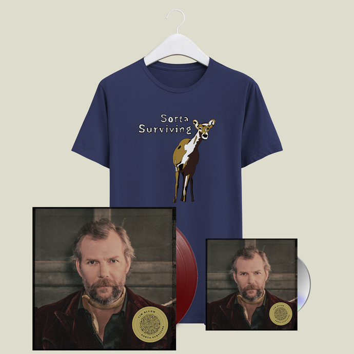 Tim Bluhm Sorta Surviving merch bundle t-shirt vinyl cd blue rose music raining gravel where i parked my mind the mother hips