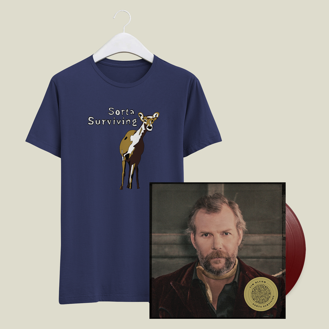 Tim Bluhm Sorta Surviving merch bundle t-shirt vinyl blue rose music raining gravel where i parked my mind the mother hips