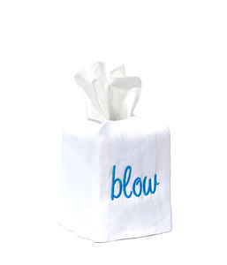 """blow"" tissue box cover"