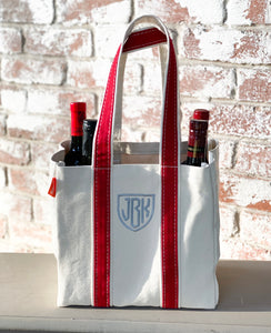 4 bottle wine tote  (14 colors available)