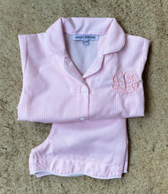 Load image into Gallery viewer, short-sleeve, pink striped pajama: size 4