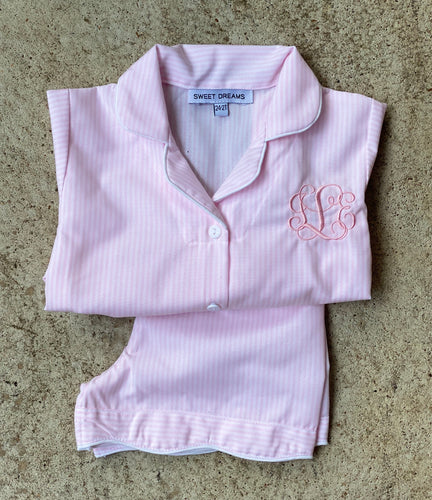 short-sleeve, pink striped pajama: size 4