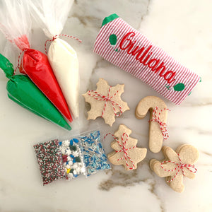cookie decorating box + monogrammed apron