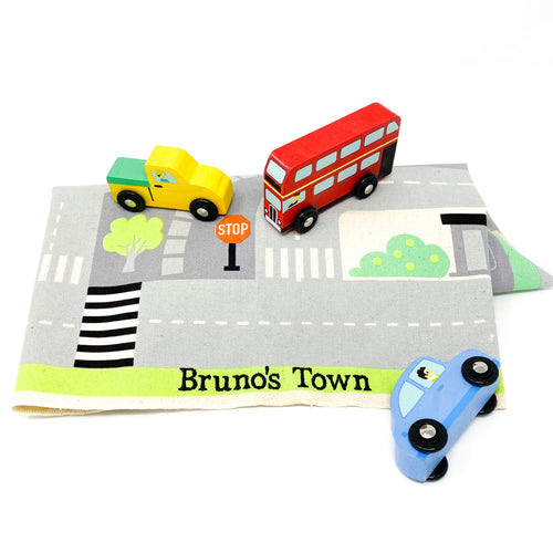 personalized town playmat with solid wood cars