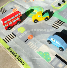 Load image into Gallery viewer, personalized town playmat with solid wood cars