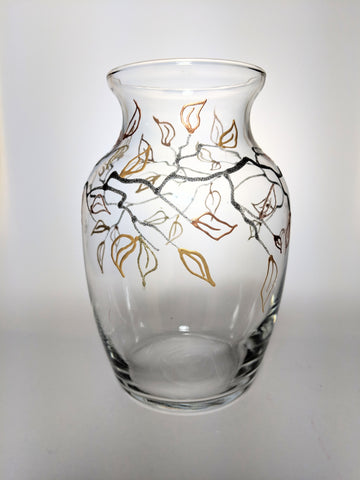 Autumn Decor - Painted Glass Vase