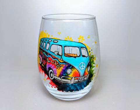 Hippie Van Painted Glass