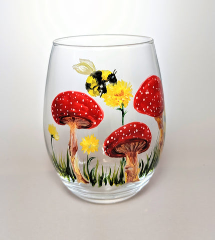 Mushroom Botanical Stemless Wine Glass