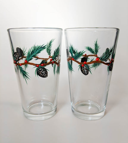 Pinecone Christmas Glasses - Set of Two