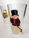 Snowman Couples Glasses