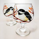 Chickadee Brandy Glasses - Set of Two