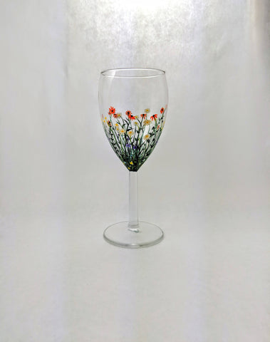 Wild Flower Wine Glass