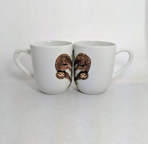 Custom Sloth Mugs - Set of Two