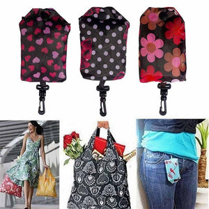 Reusable Floral Printed Grocery Bag With Hook - www.theknickknackstore.com