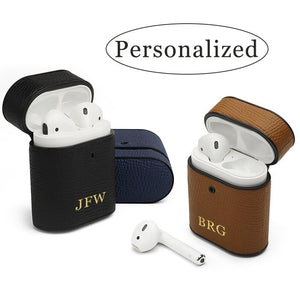 Personalized Apple AirPods Leather Case - www.theknickknackstore.com