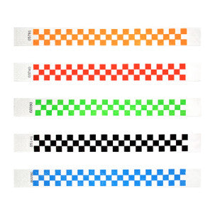 Tyvek Checker Pattern  Wristbands - Free Shipping! - Backstage Supplies