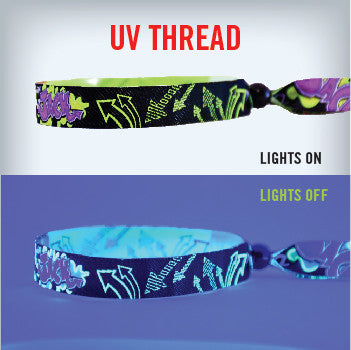cloth wristband with UV Thread