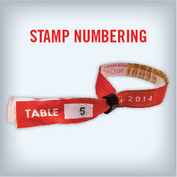 Cloth Wristbands with Stamp Numbering
