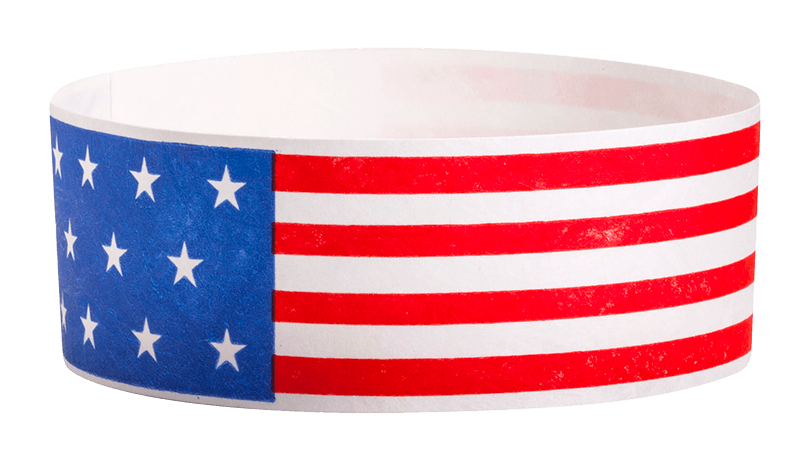 "American Flag 1"" Tyvek Wristbands - Backstage Supplies"