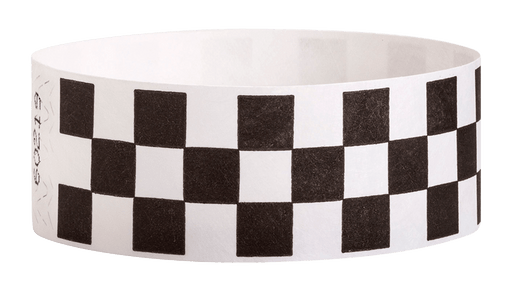 "Black Checkered 1"" Tyvek Wristband"