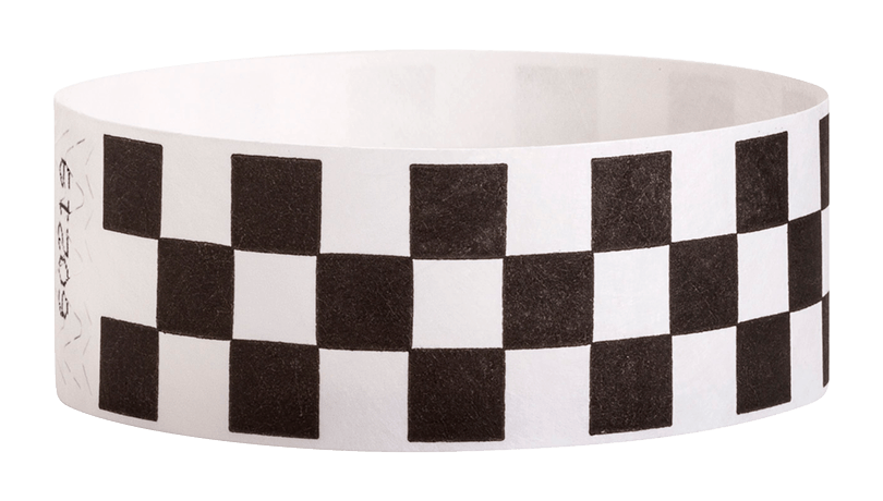 "Black Checkered 1"" Tyvek Wristbands - Backstage Supplies"