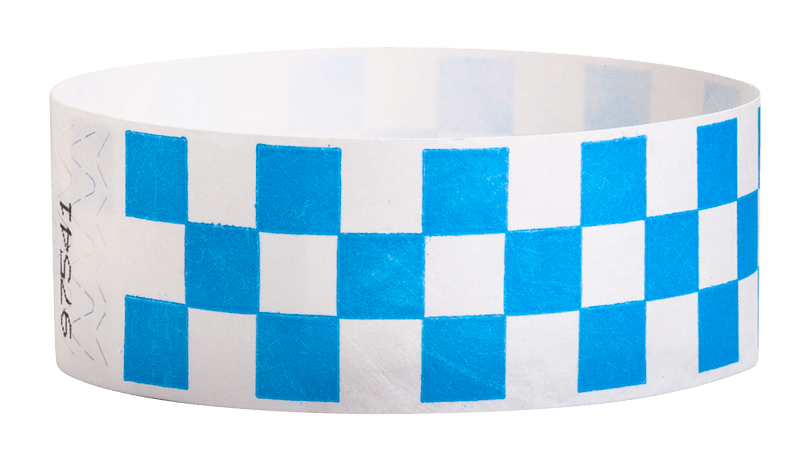 "Blue Checkered 1"" Tyvek Wristbands - Backstage Supplies"