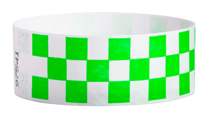 "Green Checkered 1"" Tyvek Wristbands - Backstage Supplies"