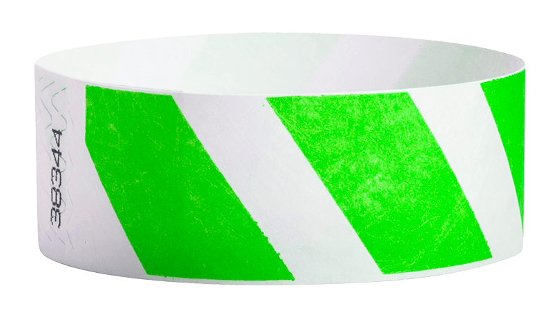 "Green Stripes 1"" Tyvek Wristbands - Backstage Supplies"