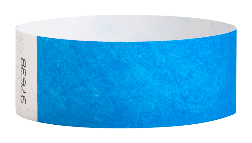 Neon Blue Tyvek Solid Wristband
