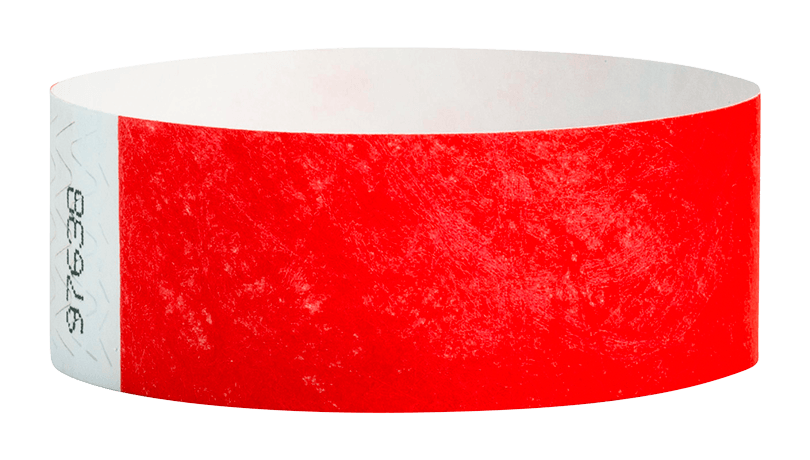 Neon Red Tyvek Solid Wristband