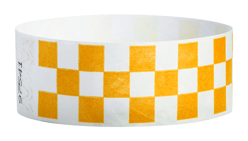 "Orange Checkered 1"" Tyvek Wristbands - Backstage Supplies"