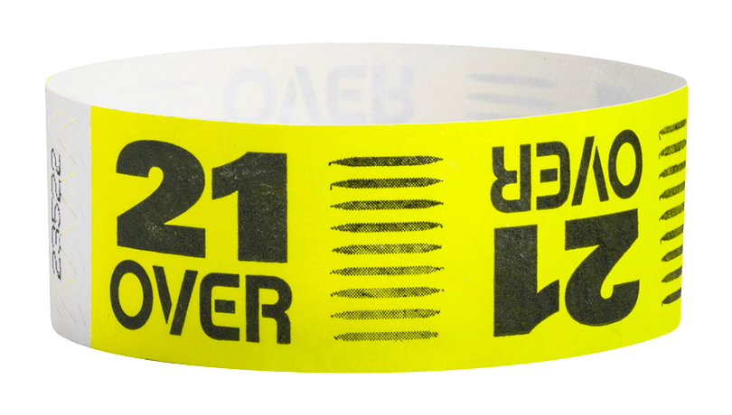 "Over 21 Tyvek 1"" Wristband"