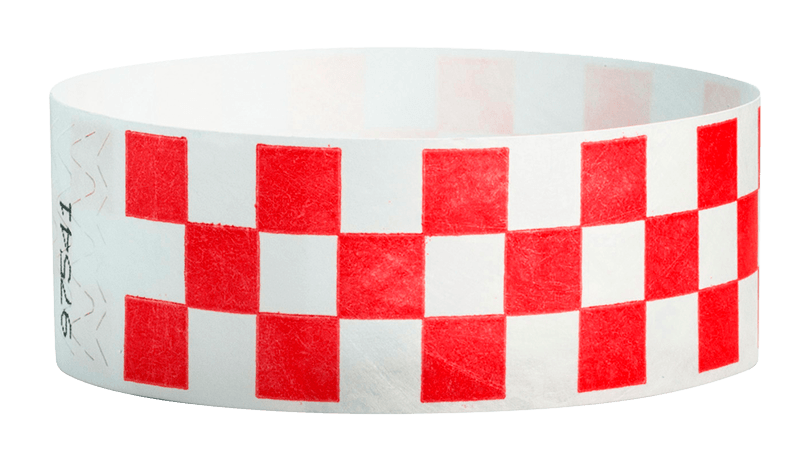 "Red Checkered 1"" Tyvek Wristbands - Backstage Supplies"