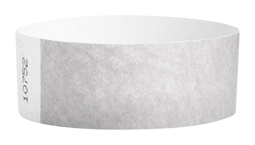 Silver Tyvek Solid Wristbands - Backstage Supplies