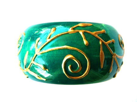Hand-Painted Embossed Wooden Bangle - Bay & Harbour
