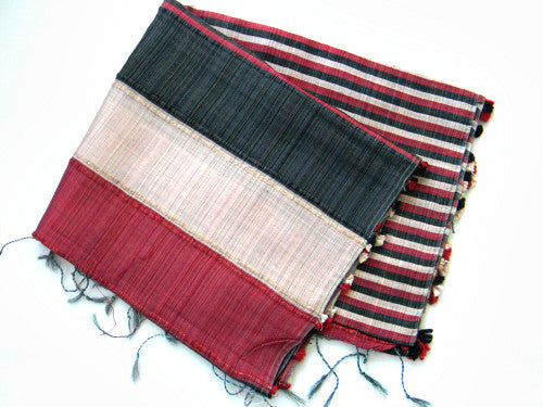 Indian Pure Silk Scarf In Strips