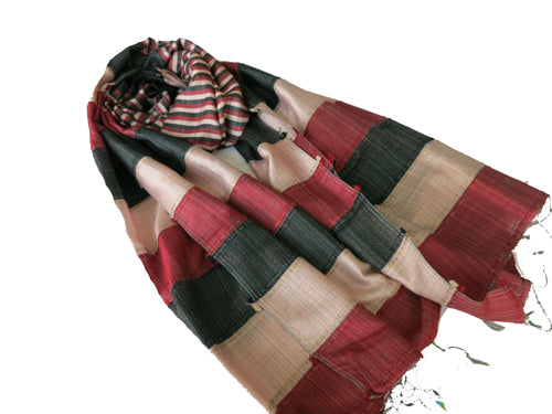 Indian Pure Silk Scarf In Strips - Bay & Harbour