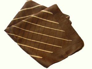 Brown Striped Silk Scarf - Bay & Harbour