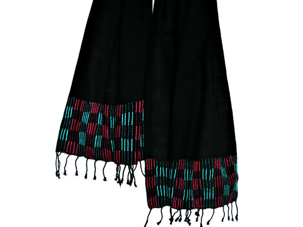 Eco-Dyed Black Cotton Stole - Bay & Harbour