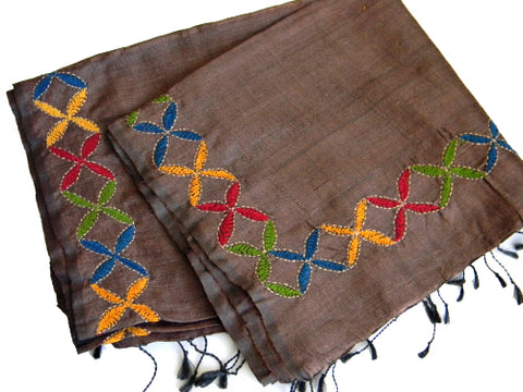 Brown Hand-Embroidered Stole