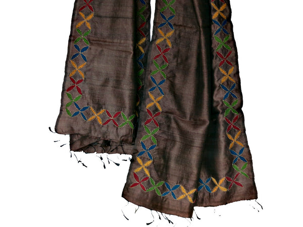 Brown Hand-Embroidered Stole - Bay & Harbour