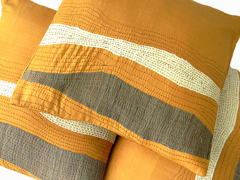 Orange Dreams - Pure Silk Patch Work Cushion Cover - Bay & Harbour