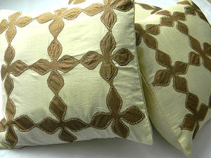 Earthen Envy - Patch Work Pure Silk Cushion - Bay & Harbour