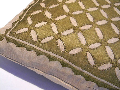 Green With Envy - Patch Work Pure Silk Cushion Cover - Bay & Harbour