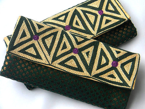 Tribal Embroidered Silk Clutch