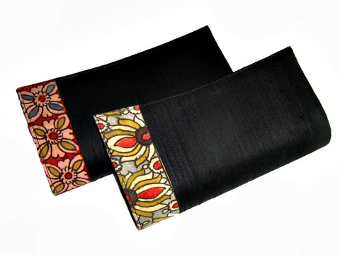 Black Floral Raw Silk Clutch - Bay & Harbour