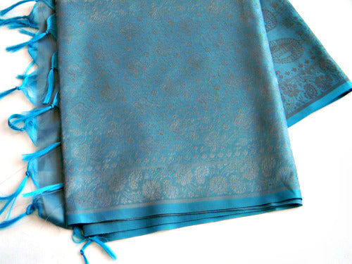 Indian Silk Stole In Soft Blue